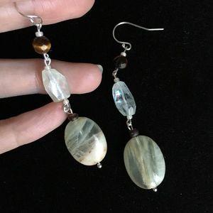 Agate, quartz crystal tigers eye sterling earrings